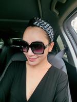fashion Women elastic PU leather & houndstooth twist headband turban, double layer seam inside