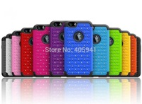 1pcs  Diamond Bling Hard Soft Rubber Armor Dual Hybrid Case Cover for iphone 6 (4.7 inch) Free Screen Protector