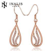 E980-B Graceful Bijoux Tassel Dangle Golden Earrings Big Drop Earrings Austrian Crystal Statement Christmas Gift For Women