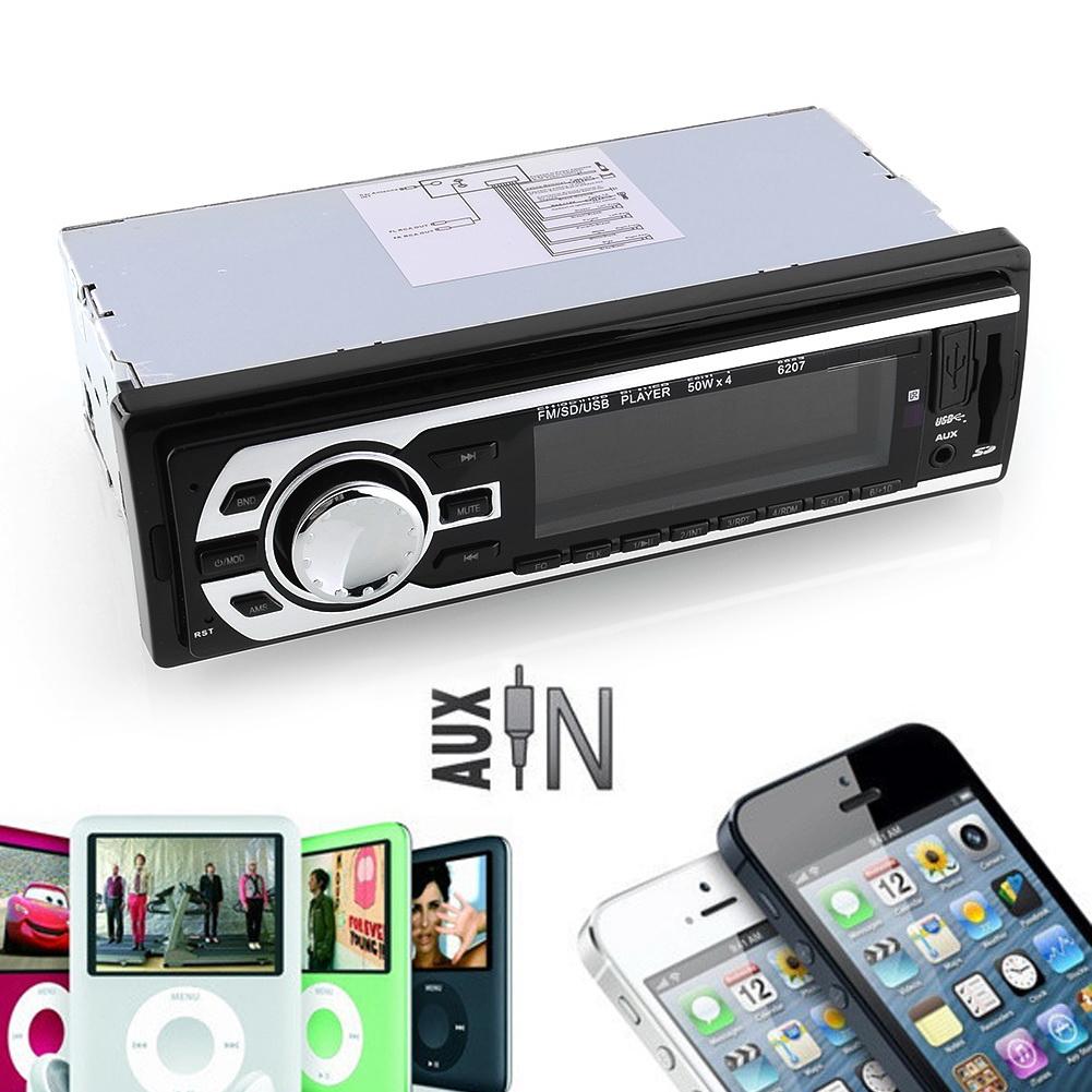 Car Vehicle Sound Music Stereo In-Dash USB/SD/AUX/MMC FM Receiver 6207 Auto Preset Scan Encoder Volume Control(China (Mainland))