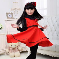 The new 2015 spring pink female baby girl dressed in winter clothes kids wear kids casual dress free shipping
