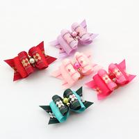dreambows Handmade  Pets Grooming Plaid Pattern Ribbon Dog Bow 22044 Dogs Hair Bows Wholesale