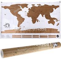 Scratch Art World Map Visits Journal Travel Log Wall Poster Art