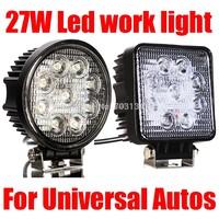 1pc 27w Led Car work light bar IP67 Waterproof Off roads truck 4x4 ATV SUV Tractor Farming Mining Heavy-duty Spot Fog Headlights