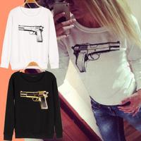 2015 spring autumn women long sleeve sport suit o-neck hoodies women's gun printting sweatshirts coats l1516