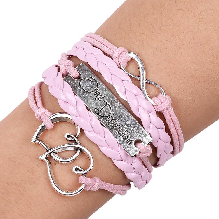 Cheap Jewelry 2015 New Fashion Leaf Woven Braid one direction PU Leather Bracelets Bangles Women Ladies handmade bracelet gift(China
