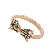 Pulseiras Braceletes Bijoux Women 2015 Brand 18K Plated Gold Rhinestone Green Panther Leopard Bracelet Cuff Bangle Jewelry