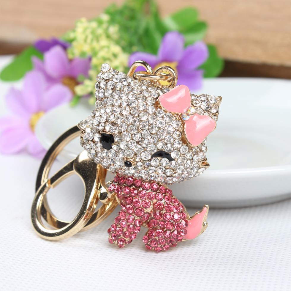 Butterfly Pink Hello Kitty Cat Cute Crystal Charm Purse Handbag Car Key Keyring Ring Keychain Party Birthday Gift(China (Mainland))