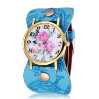 Peony Printing Pu Strap Women Dress Watches Quartz Movement Rose Gold Alloy Case Analog Display Laides Fashion Wristwatches 2224