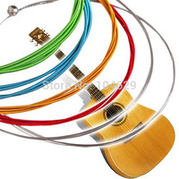 A17 High quality!Set 6pcs/lot Rainbow Colorful Color Steel Strings for Acoustic Guitar 1M T1475 P