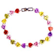 New Fashion Heart Cut Jewelry Colorful Multi Stone Rainbow Sapphire 925 Silver Bracelet Women 2015 Valentine's Wholesale 20CM(China (Mainland))