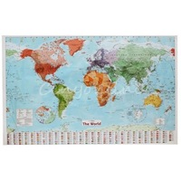 150x100cm Large World Map Poster With Country Political Flags Wall Home Chart