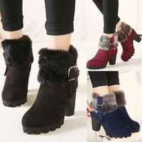 Womens Platform Ankle Boots Faux Suede Womens Winter Boots Faux Fur Chunky Heeled Comfort Ladies Outdoor Boots Shoes Wholesales