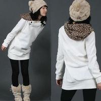 Winter Women Warm Hoodie Sweatshirt Leopard  Pullover Outwear Coat Jacket For Freeshipping