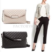 Free Shipping Women Handbag Plaid Leather Bag Chain Messenger Bag Designer Cross Body Shoulder Bag Bolsas Fmininas 4016-784
