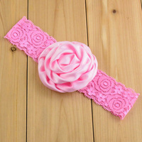 Free shipping  Rolled Flowers Baby girls lace headbands Angel  lace hairbands children's hair accessories