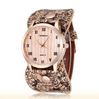 Women Retro Flower Printing Pu Strap Quartz Watches Rose Gold Alloy Case Ladies 2015 fashion Wristwatches 5 Colors 2219