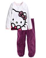 2015 new Hello Kitty girls suit (T-shirt + pants), 100% cotton cartoon suits, children's spring/autumn leisure suit.