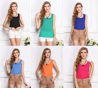 2015 New Summer Women's Clothes Chiffon Sleeveless Solid Neon Candy Color Causal Chiffon Blouse Shirt Women Top Blusas Femininas