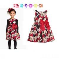EMS DHL Free shipping little girls kids Black Red Minnie  Ribbon Bow Sleeveless Princess  Dress Holiday Casual Dress