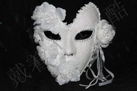 Top grade feather +flowers+lace white venetian princess party mask full face carnival masquerade mask free shipping