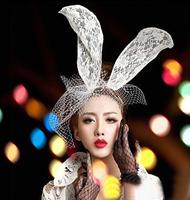On Sale Black/White Fashion Women Girl Fishnet Veil Bunny Rabbit Ears Costume Party Headband Hairband Hair Accessories