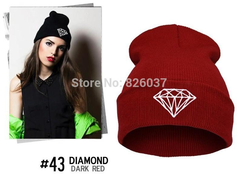 2015 European and American Women Men Popular Hip-hop Knitted hat Hedging caps,Men Unisex Casual Diamond printed Wool Skullies(China (Mainland))