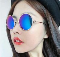 Prince retro round sunglasses tide of men and women of color film mirror lens Glasses fashion Colorful small round glasses