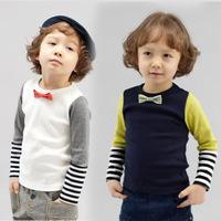 2015 boys long-sleeved t-shirt gentleman Kids Korean bow tie stitching bottoming shirt sleeve striped tops tee children clothing