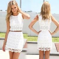 2015 Women  Lace Dresses Casual Vestidos Femininos Women Lace Dress Plus Size Fashion Sexy Cute Vest Slim Hip Dresses LD35014
