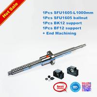 Anti Backlask Ballscrew SFU1605-L1000mm with ballnut+end machining+1set BK/BF12