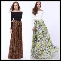 2015 casual dress long women summer spring maxi vestidos plus size full chiffon dresses floor-length leopard floral printed
