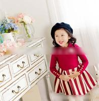 New 2015 Children Dresses Girls Crown Stripe Long Sleeve Princess Dress Kids Spring  Vertical Stripe Splicing Casual Dress 4664