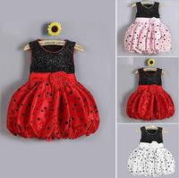 Cute Girls Princess Dress Kids Polka Dot Clothes Baby Girls Elegant Sleeveless Flower Party Dresses Roupas Infantil Meninas