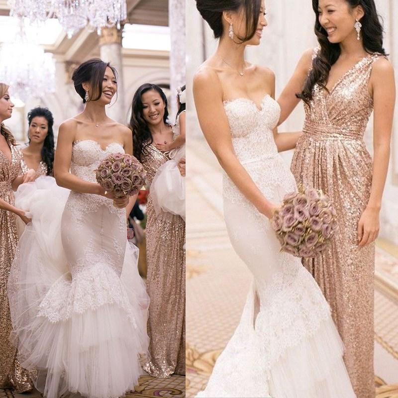 Gold Sequin Bridesmaids Dresses Gold Sequins Bridesmaid