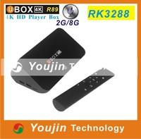 Original UBOX R89 Android4.4 RK3288 Quad Core 1.8GHz 2G/8G H.265 XBMC HDMI 4K*2K WiFi RJ45 OTG SPDIF RK3288 Smart TV BOX mini pc