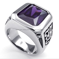 Jewelry 316L Stainless Steel Titanium Fashion Square Amethyst Gem Rock N' Roll Casted Ring M072461