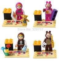 Hot Masha and bear Building Blocks Sets Mini figure Bricks Russian Toys Girls Kids Children Christmas Birthday Gifts with box
