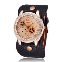 New 2015 Women Fashion Rhinestone Dress Watches Quartz Movement Beautiful Flower Printing Pu Strap Ladies Casual Wristwatches