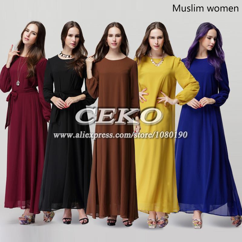Lastest Buy 2015 Summer Muslim Long Dress Islamic Women Casual Abaya Muslim
