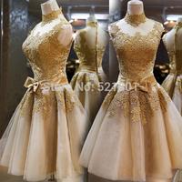 Golden lace short Cocktail dress to party 2015 new zipper Cocktail Dresses vestido de festa robe de cocktail prom dress