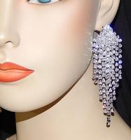 """2015 Luxury New Clip Earing Wedding Bridal Rhinestone Crystal 4"""" Long Silver Gold Dangle Chandelier Drop Earrings Jewelry DE106"""