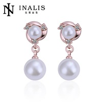 E353 Elegant Bijoux Round Pearl Dangle Earrings Platinum/Rose Gold Plated Drop Earrings Crystal Statement  For Women Top Selling