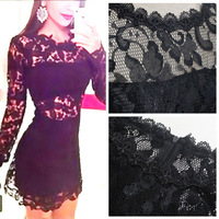 New Fashion 2015 Bodycon Bandage Sexy Club Women Clothing Black Lace Hollow Out Elegant Lady Bodycon Special Occasion Dresses