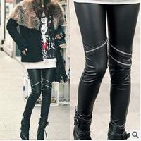 Sexy Fashion Women High Faux Leather Zipper Leggings Stretch  Pant Trousers  Free Shipping