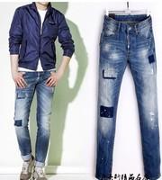 2015 men luxury DSQ brand Patch holes worn straight Slim fashion denim trousers jeans D2 luxurymen's brand jeans