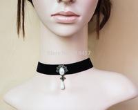 WHOLESALE vintage lace punk collar, water drop pearl  black choker FREE SHIPPING