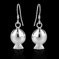2015 925 Silver Earrings Fashion Jewelry Free Shipping STL Silver fish dolphin Earrings lose money promotion sexy gift Ali YE231
