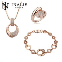 S129 Factory Vintage Real 18K Gold Plated Austrian Crystal Women Jewelry Sets  2015 High Quality