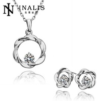S193 Factory 18K Gold Plated Austrian Crystal Nickel and Lead Free Jewelry Sets For Women Wedding Party